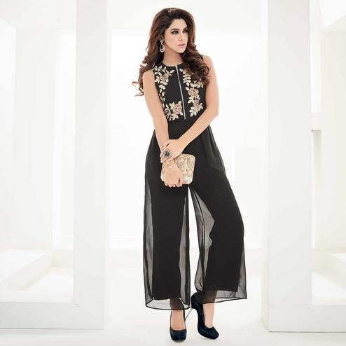 Magnetic Black Colored Partywear Floral Embroidered Georgette Ethnic Jumpsuit