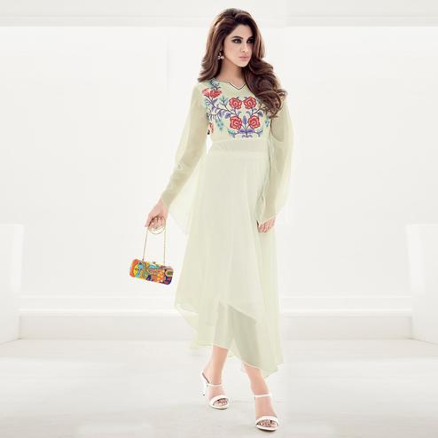 Marvellous Cream Colored Partywear Floral Embroidered Georgette Kurti