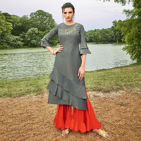 Imposing Grey Colored Partywear Hand Embroidered Muslin Silk Kurti-Palazzo Set
