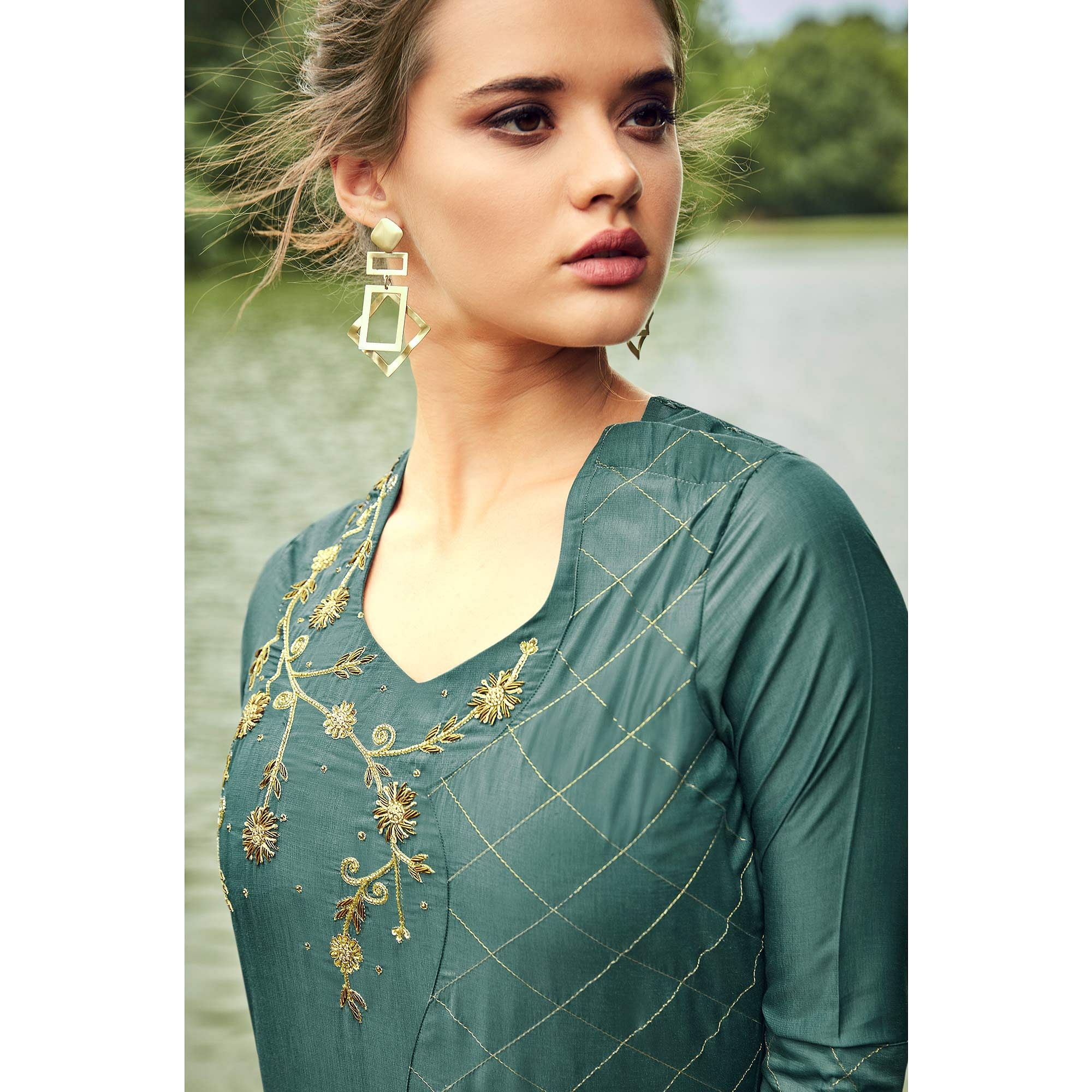 Buy Lovely Teal Grey Colored Partywear Hand Embroidered Muslin Silk Kurti Palazzo Set For Women S Wear Online India Best Prices Affordable Prices Best Price Online Reviews Peachmode