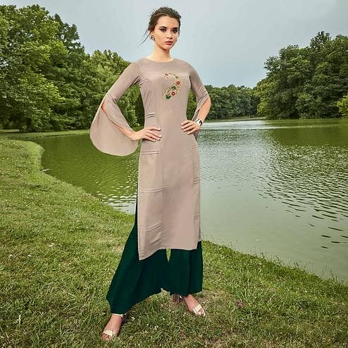 Impressive Light Grey Colored Partywear Hand Embroidered Muslin Silk Kurti-Palazzo Set