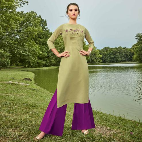 Pleasance Pista Green Colored Partywear Hand Embroidered Muslin Silk Kurti-Palazzo Set