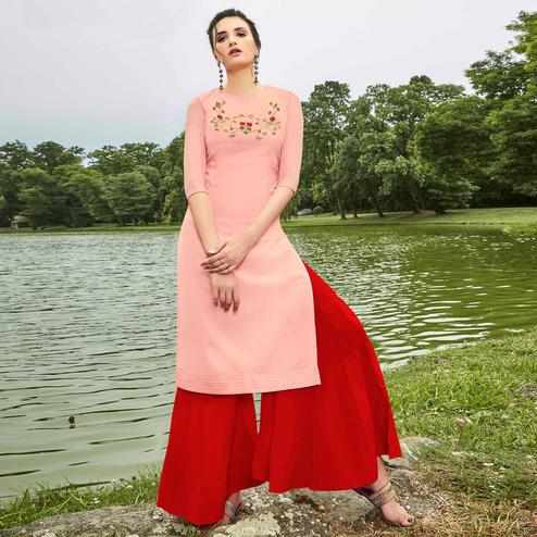Breathtaking Pink Colored Partywear Hand Embroidered Muslin Silk Kurti-Palazzo Set