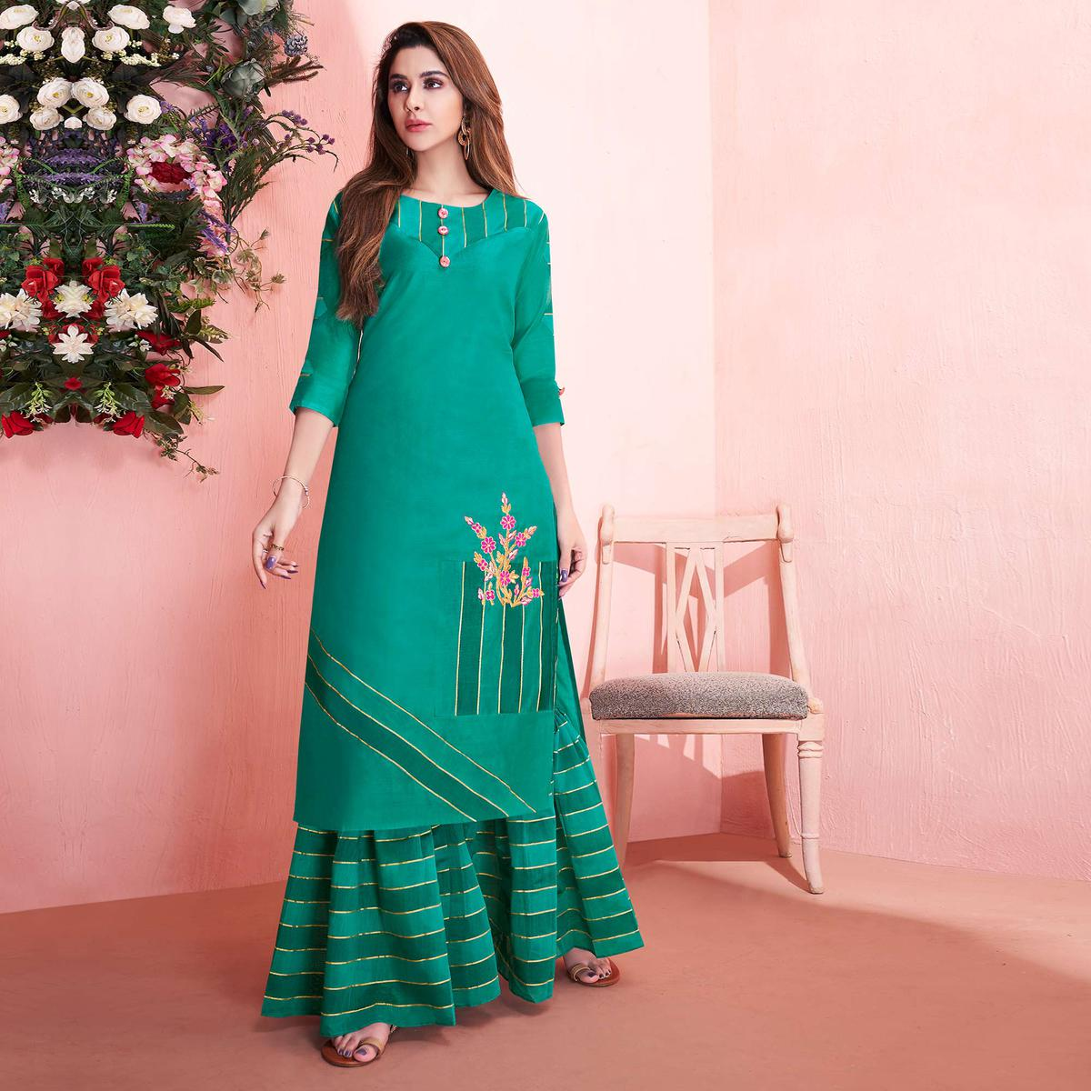 Prominent Turquoise Green Colored Partywear Embroidered Modal Silk Kurti-Sharara Set