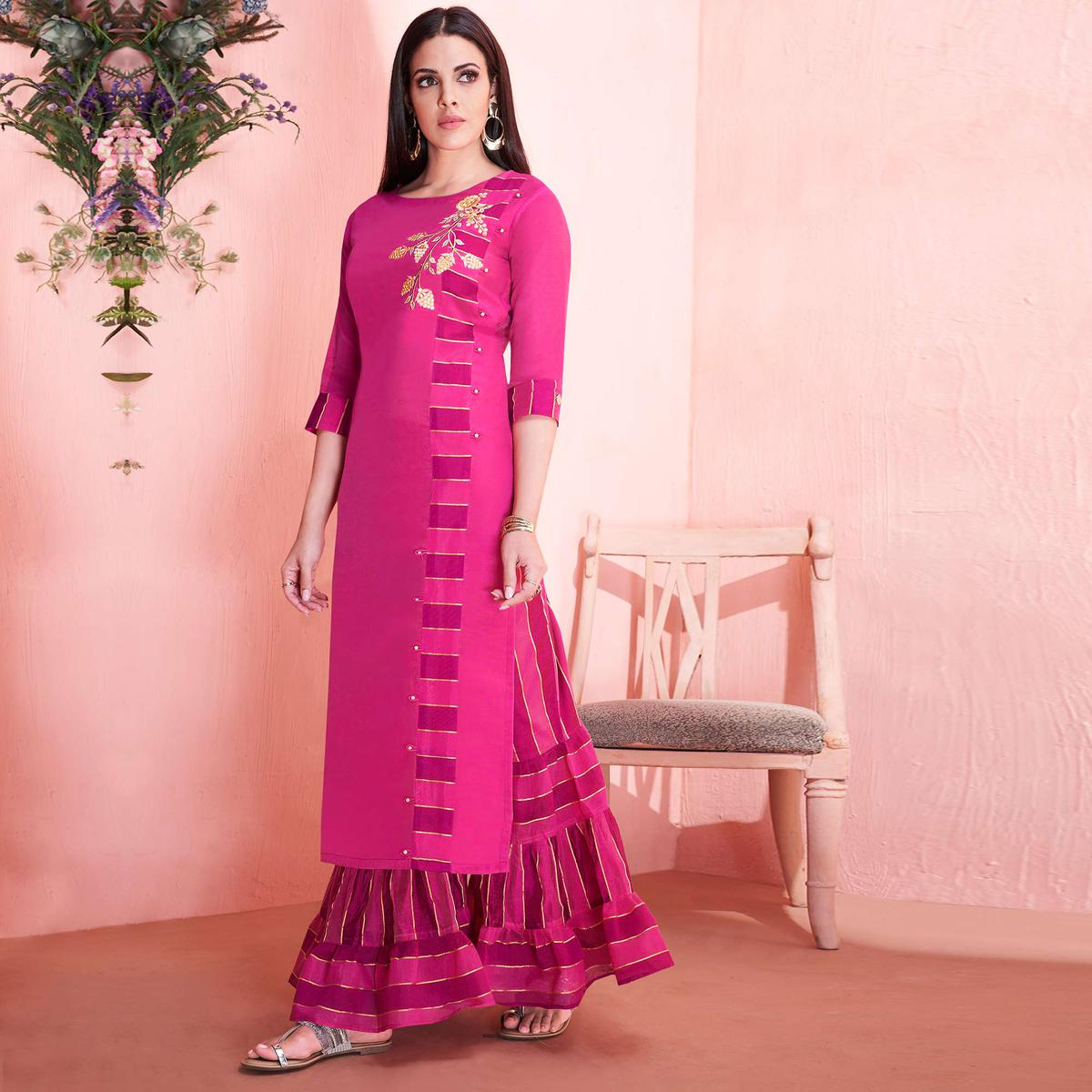 Appealing Dark Pink Colored Partywear Embroidered Modal Silk Kurti-Sharara Set