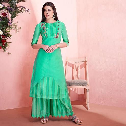Capricious Aqua Green Colored Partywear Embroidered Modal Silk Kurti-Palazzo Set