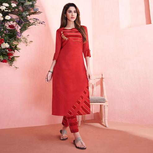 Entrancing Red Colored Partywear Embroidered Modal Silk Kurti-Pant Set