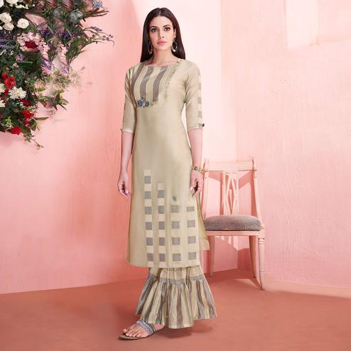 Groovy Chiku Colored Partywear Embroidered Modal Silk Kurti-Sharara Set