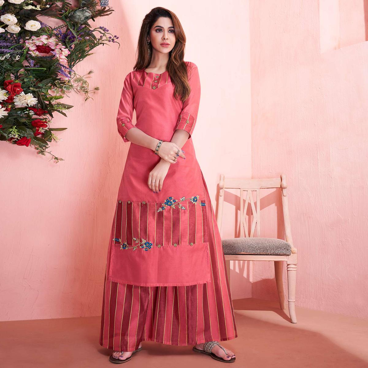 Exclusive Pink Colored Partywear Embroidered Modal Silk Kurti-Palazzo Set