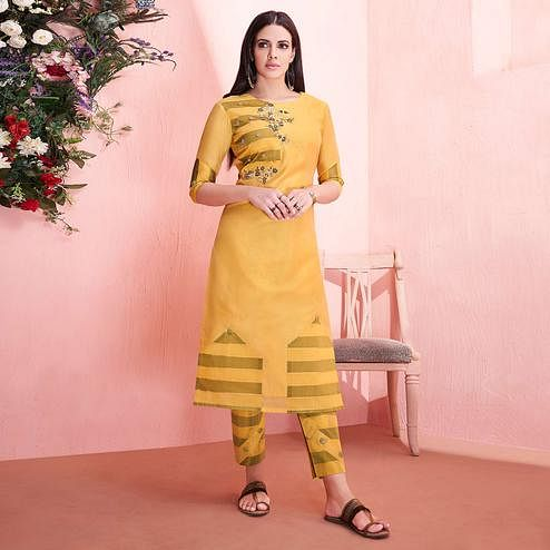 Desirable Yellow Colored Partywear Embroidered Modal Silk Kurti-Pant Set