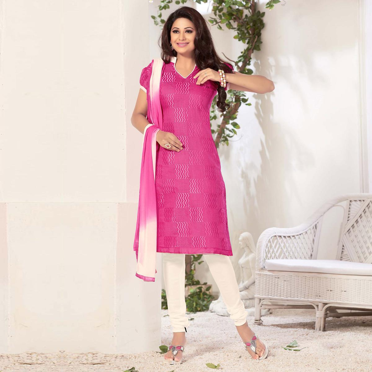 Pink Casual Wear Unstitched Suit