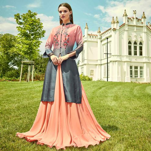Glorious Pink Colored Party Wear Floral Embroidered Georgette Gown