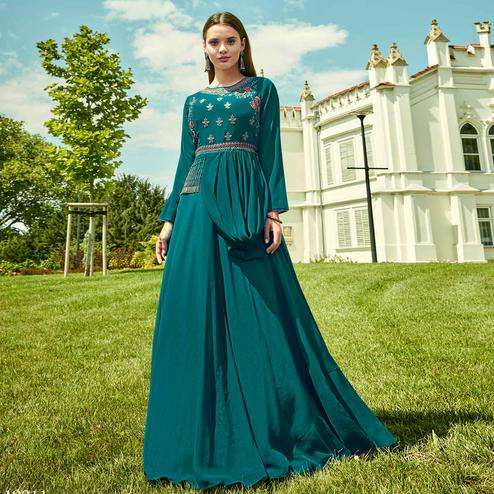 Attractive Dark Turquoise Green Colored Party Wear Floral Embroidered Georgette Gown