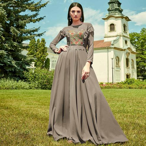 Blooming Grey Colored Party Wear Floral Embroidered Georgette Gown