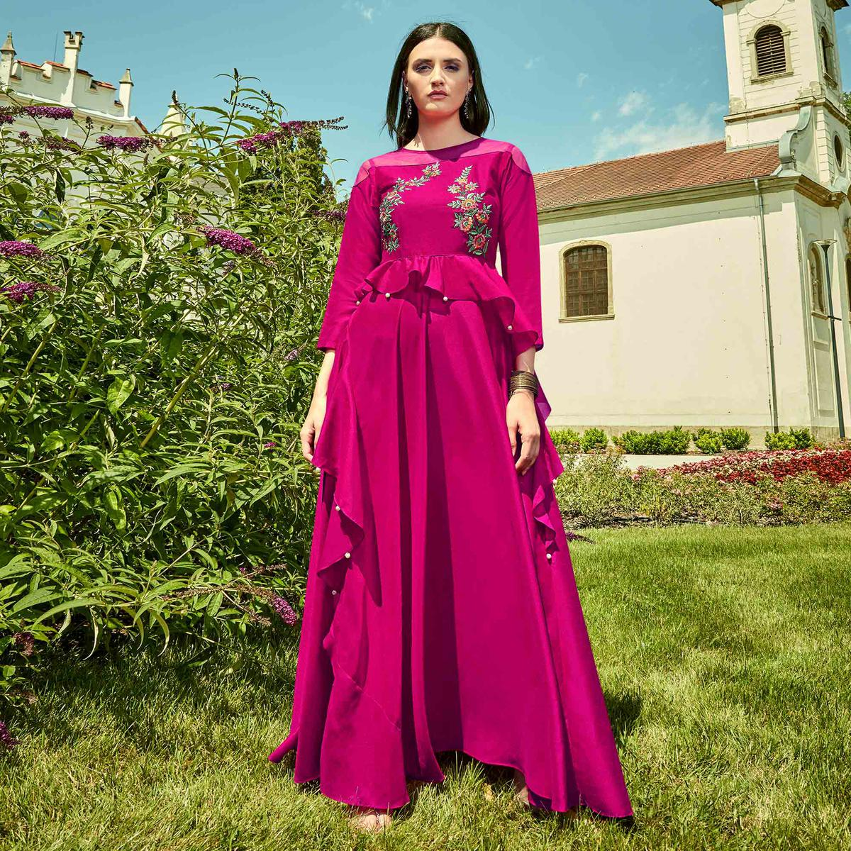 Charming Magenta Pink Colored Party Wear Floral Embroidered Georgette Gown