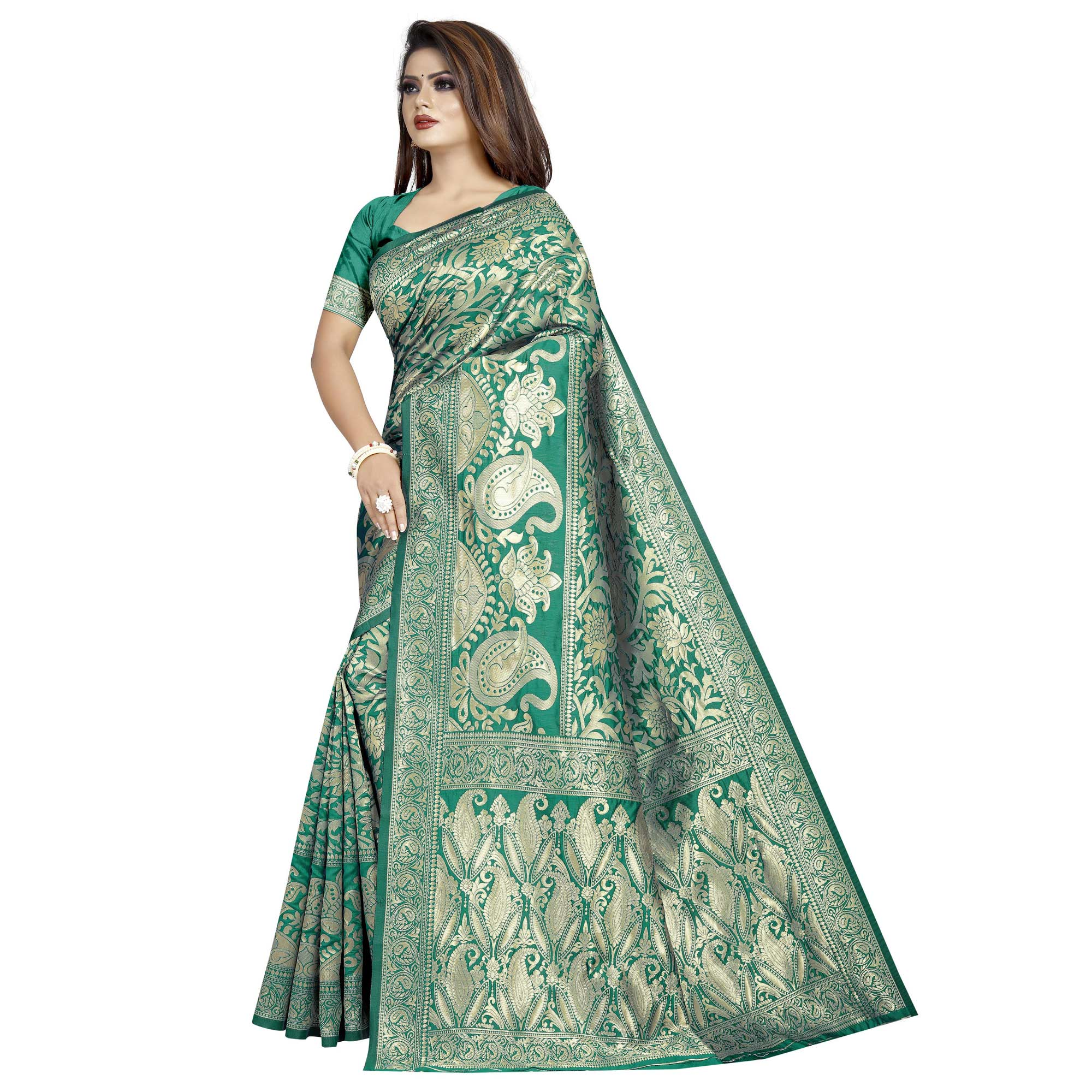 Intricate Turquoise Green Colored Festive Wear Woven Cotton Silk Saree