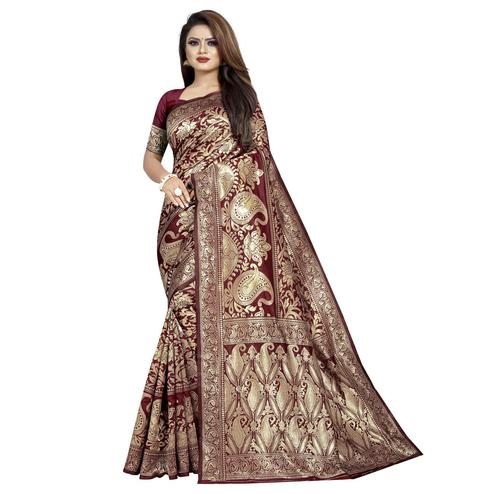 Arresting Maroon Colored Festive Wear Woven Cotton Silk Saree