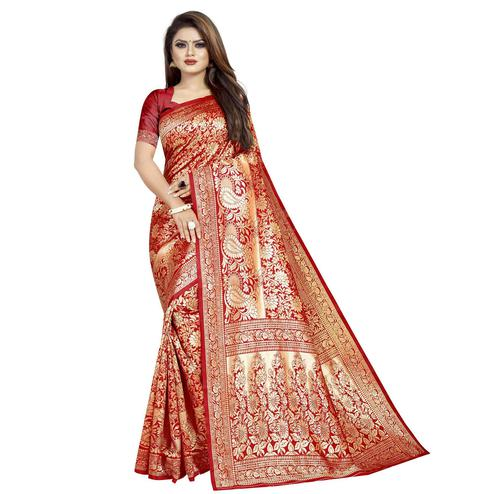 Exotic Red Colored Festive Wear Woven Cotton Silk Saree