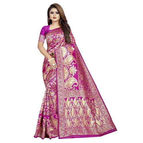 Trendy Pink Colored Festive Wear Woven Cotton Silk Saree