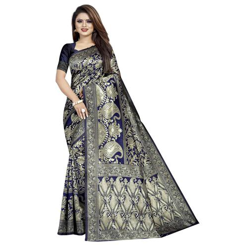 Elegant Navy Blue Colored Festive Wear Woven Cotton Silk Saree