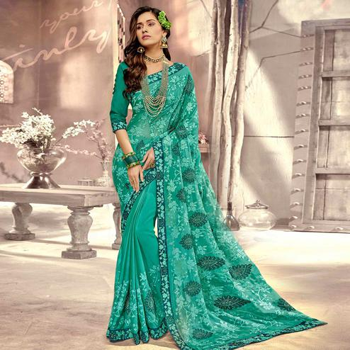 Glorious Turquoise Green Colored Party Wear Floral Embroidered Georgette Saree