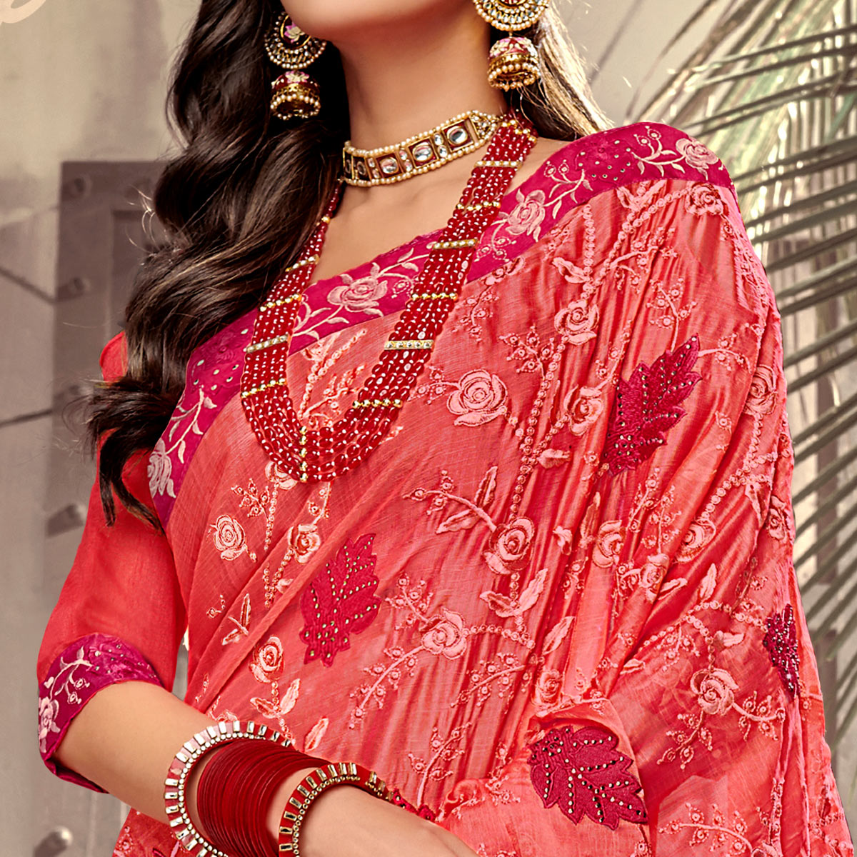 Beautiful Coral Red Colored Party Wear Floral Embroidered Georgette Saree