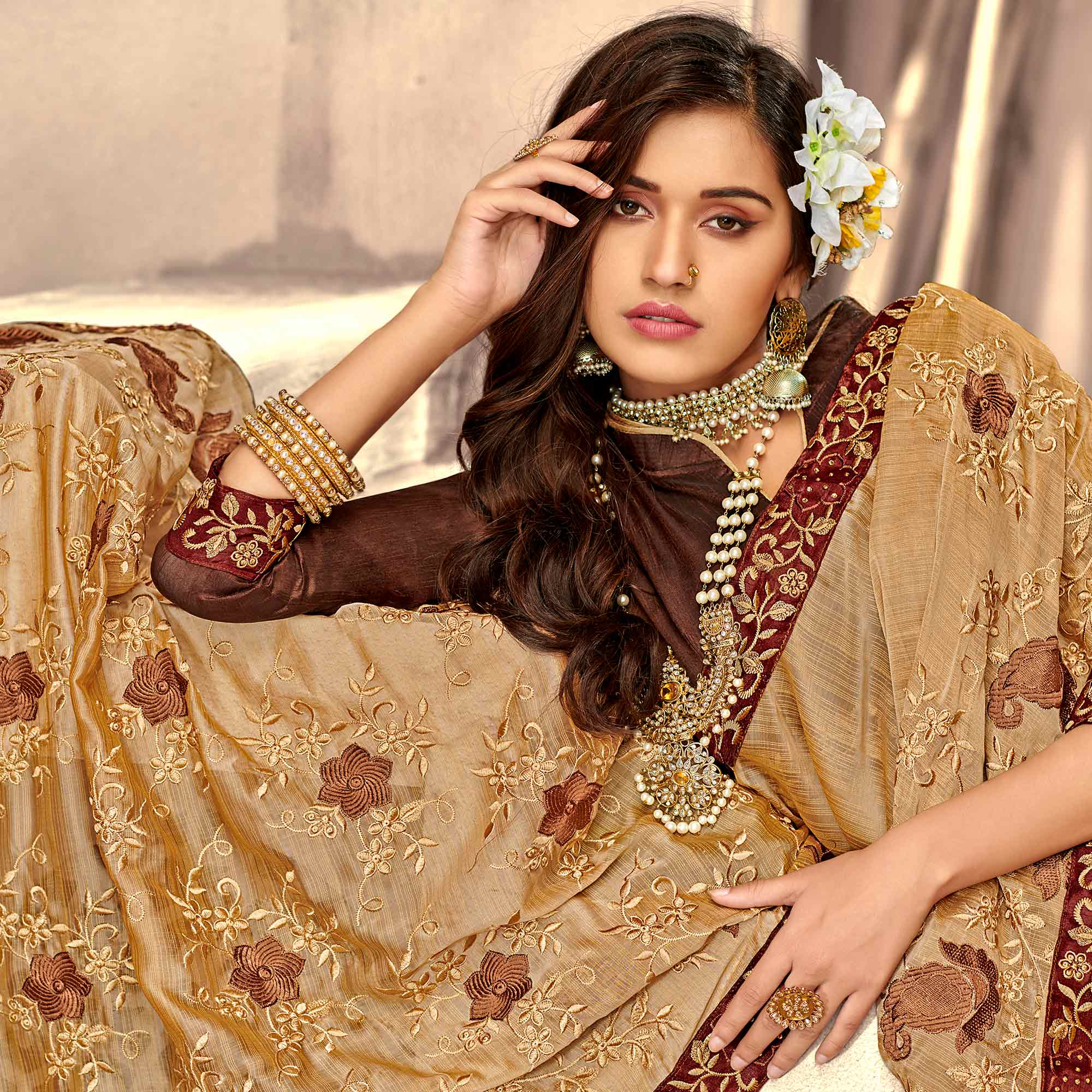 Graceful Light Brown Colored Party Wear Floral Embroidered Georgette Saree