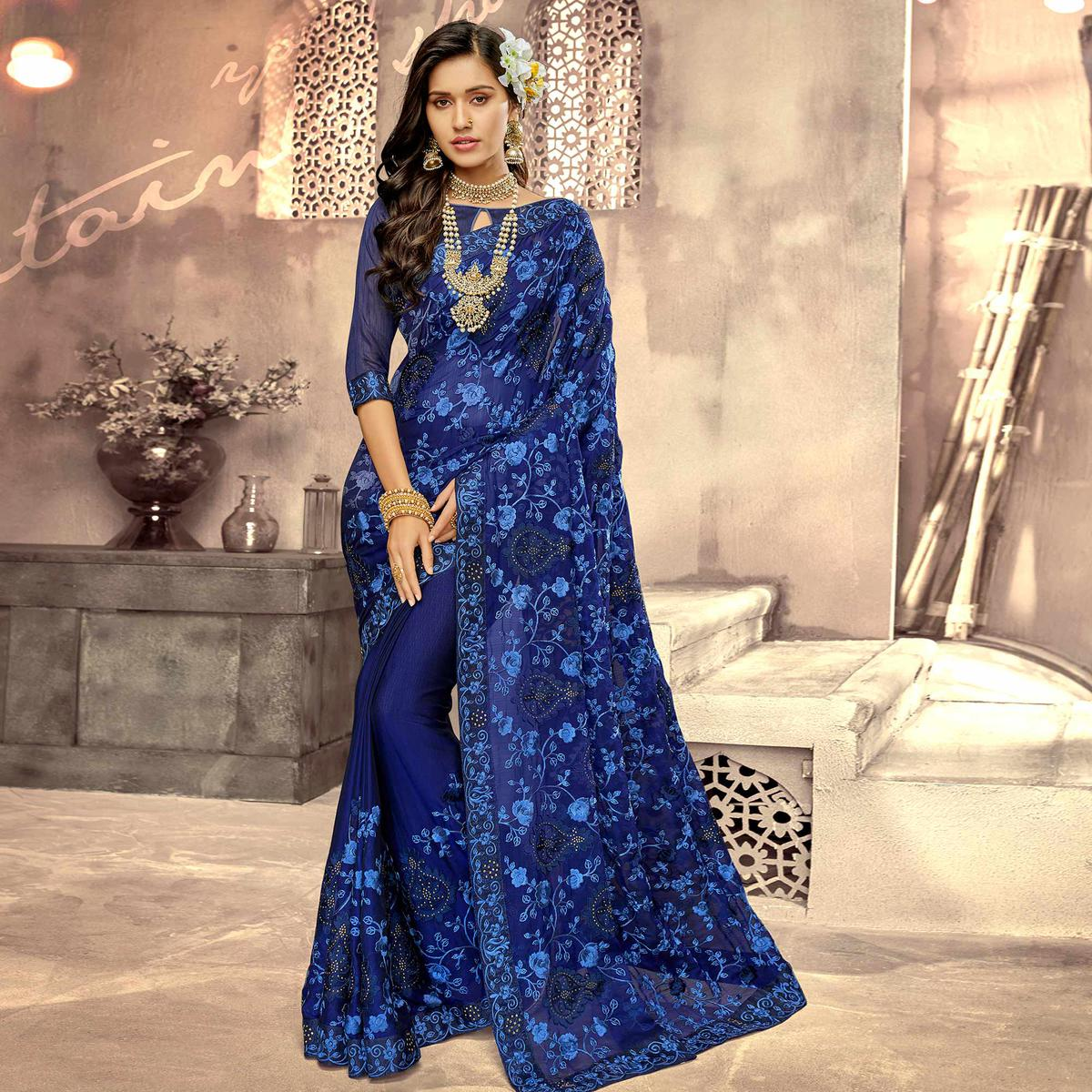 Charming Navy Blue Colored Party Wear Floral Embroidered Georgette Saree