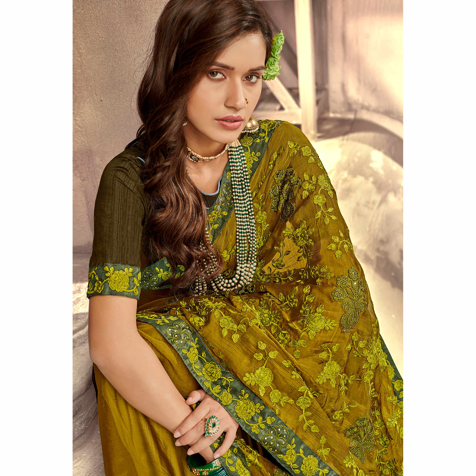 Jazzy Mehndi Green Colored Party Wear Floral Embroidered Georgette Saree