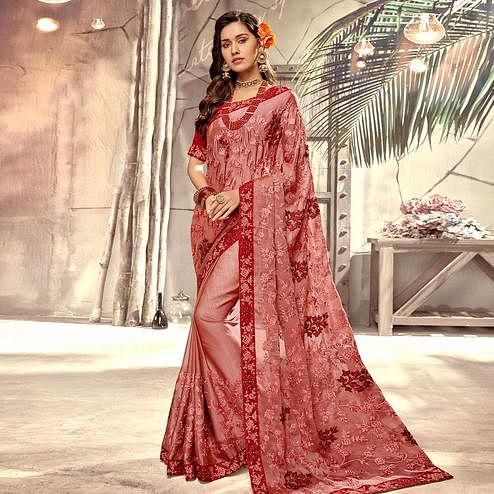 Delightful Mauve Colored Party Wear Floral Embroidered Georgette Saree