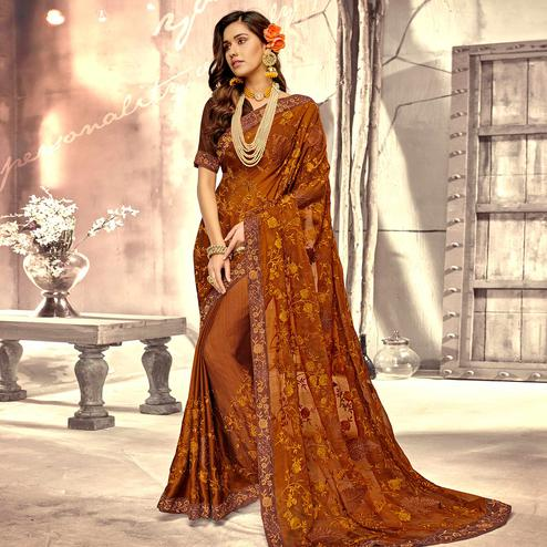 Exotic Brown Colored Party Wear Floral Embroidered Georgette Saree
