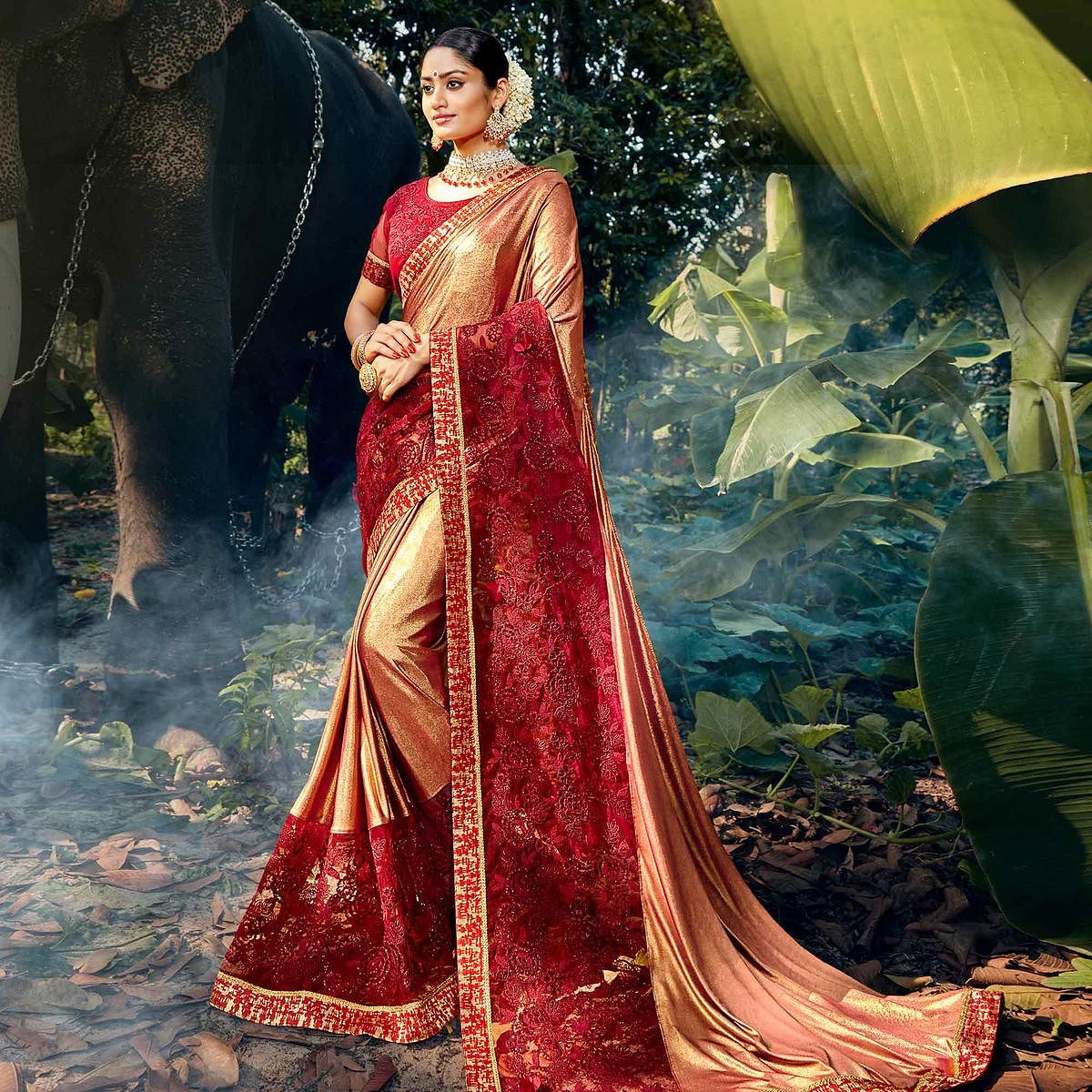 Intricate Rose Gold Colored Party Wear Floral Embroidered Art Silk Saree