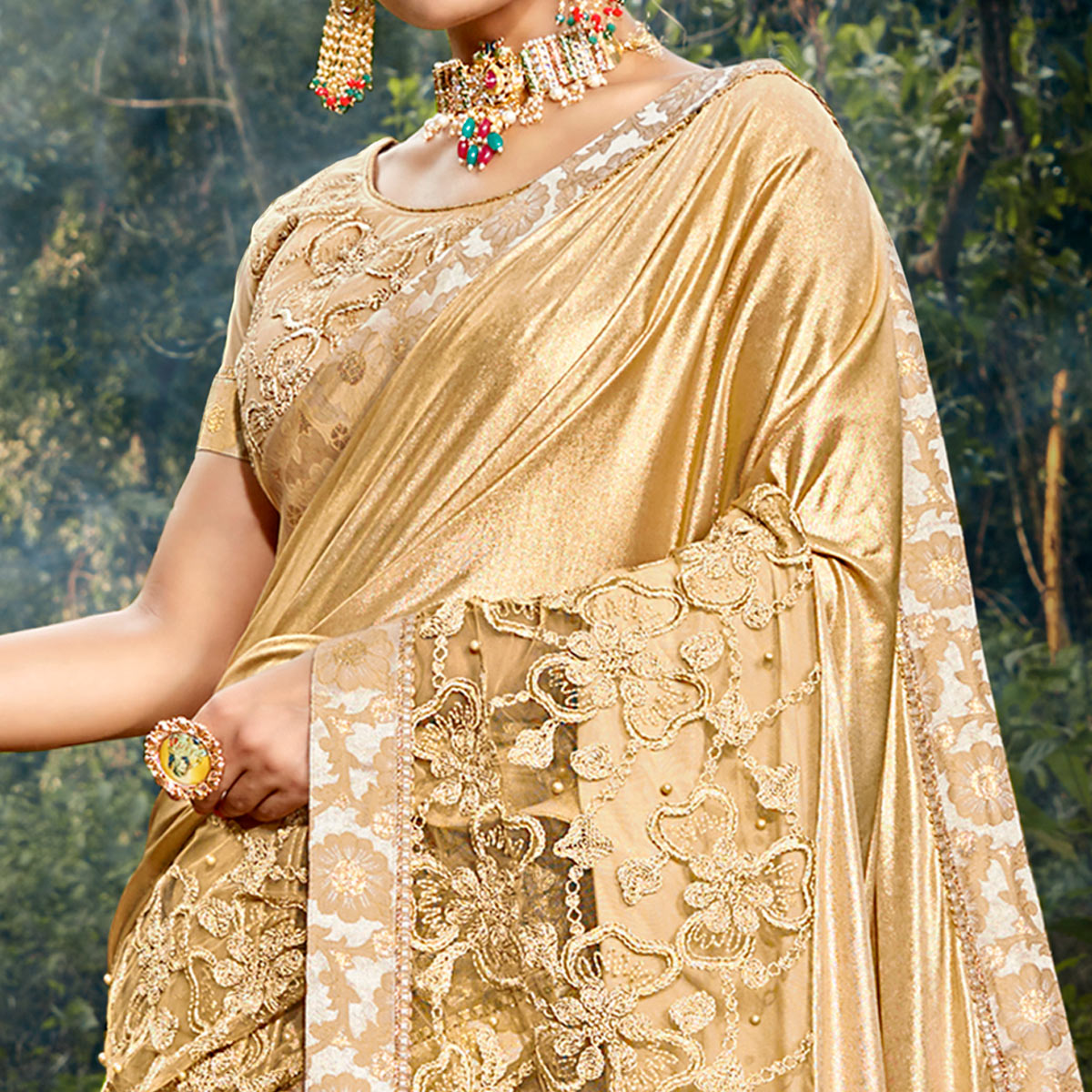 Arresting Beige Colored Party Wear Floral Embroidered Art Silk Saree