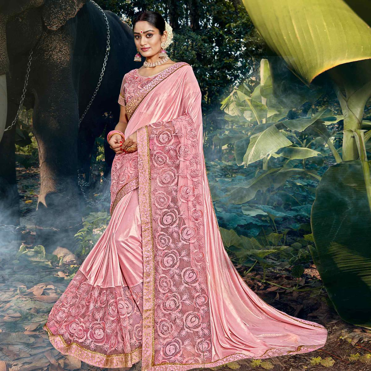 Desirable Pink Colored Party Wear Floral Embroidered Art Silk Saree