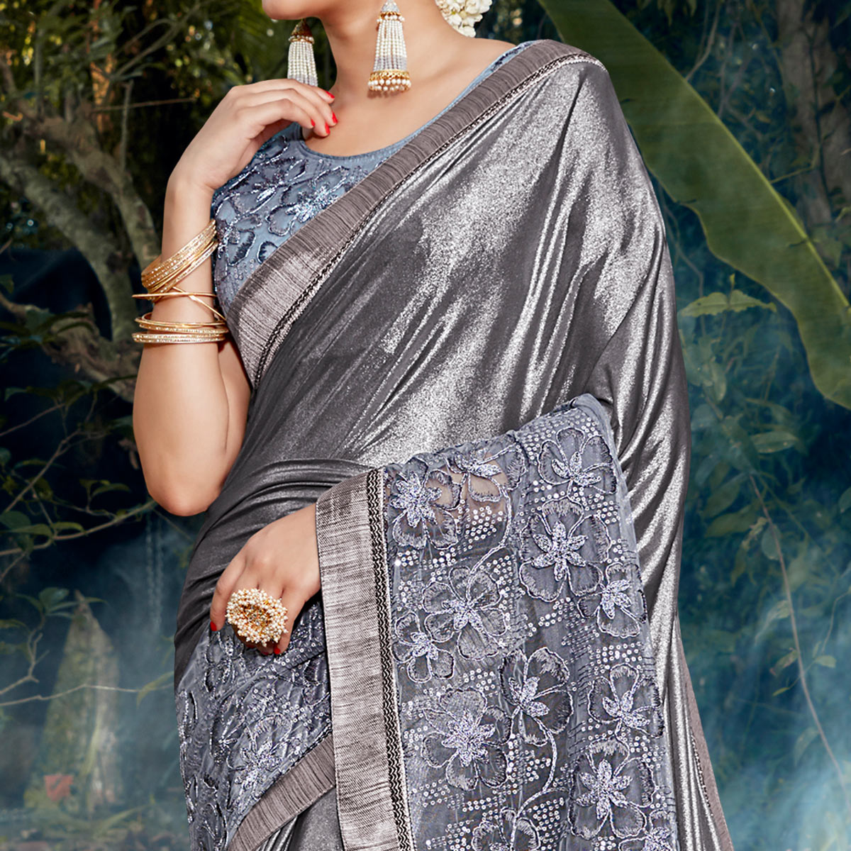 Exotic Grey Colored Party Wear Floral Embroidered Art Silk Saree