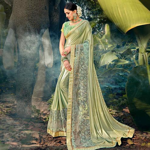 Blooming Pista Green Colored Party Wear Floral Embroidered Art Silk Saree