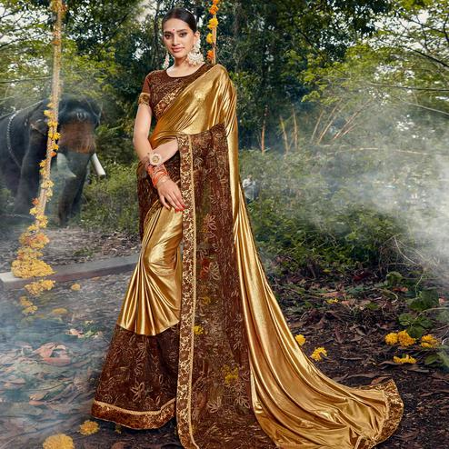 Charming Golden-Brown Colored Party Wear Floral Embroidered Art Silk Saree