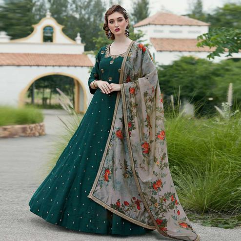 Attractive Green Colored Party Wear Embroidered Art Silk Salwar Suit