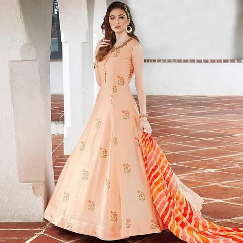 Beautiful Light Peach Colored Party Wear Embroidered Art Silk Salwar Suit