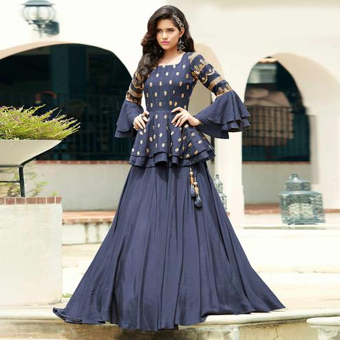 Charming Navy Blue Colored Party Wear Embroidered Art Silk Lehenga Choli