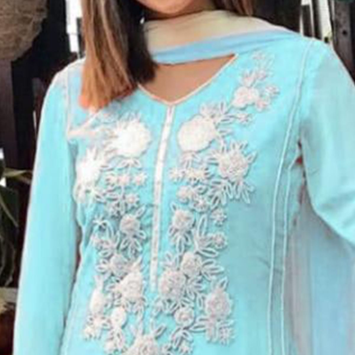 Arresting Blue Colored Party Wear Floral Embroidered Georgette Palazzo Suit