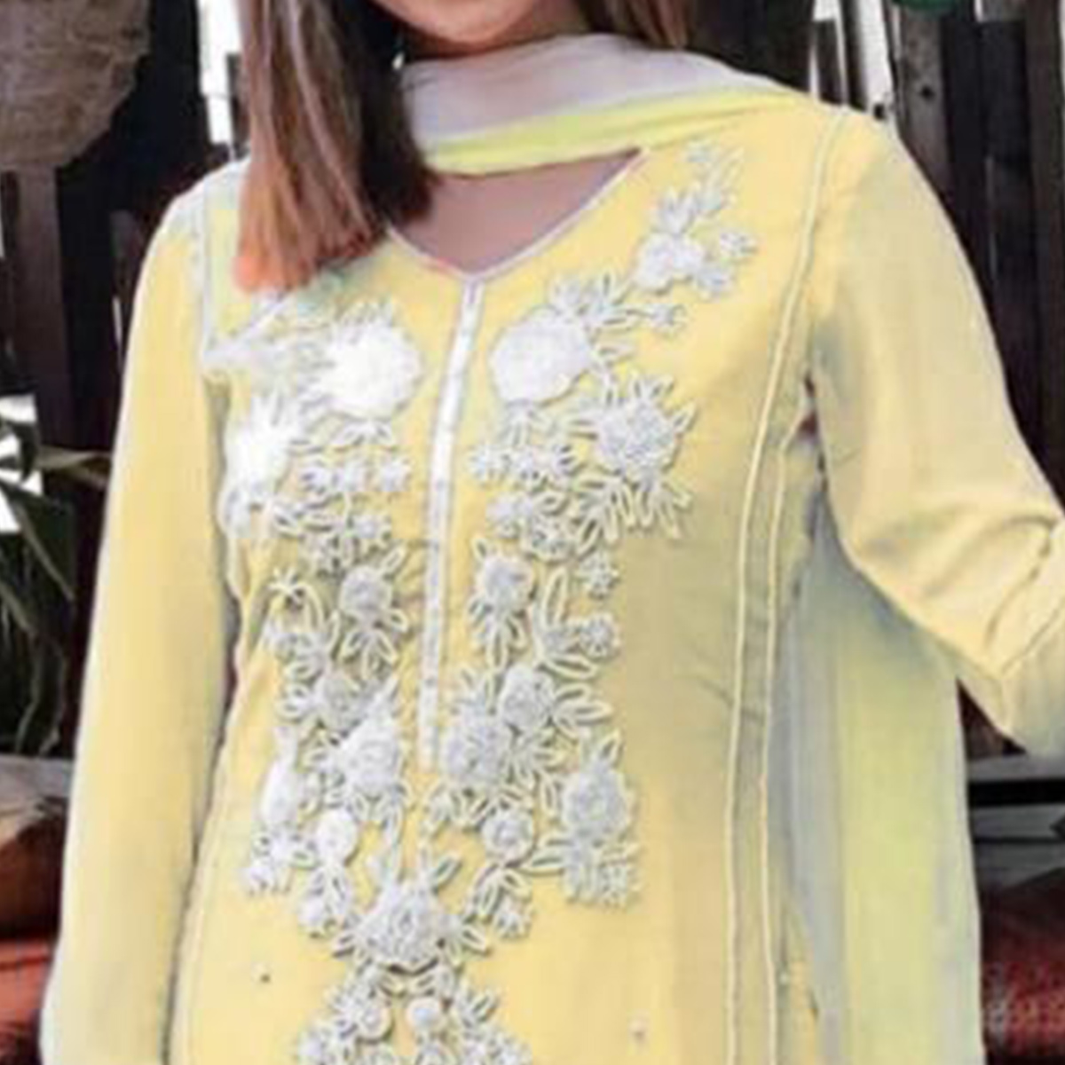 Exotic Yellow Colored Party Wear Floral Embroidered Georgette Palazzo Suit