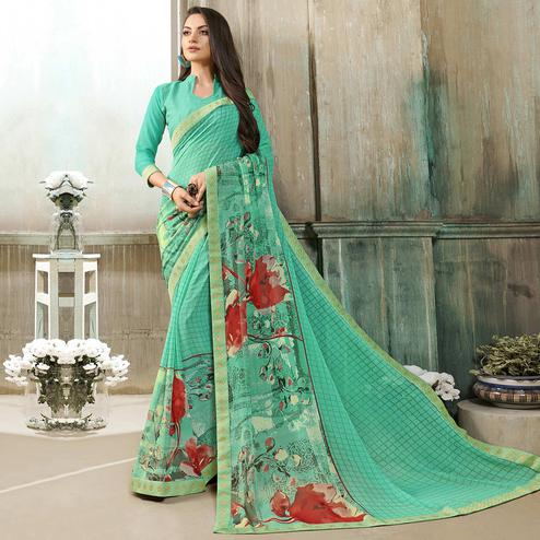 Blooming Sea Green Colored Casual Wear Printed Georgette Saree
