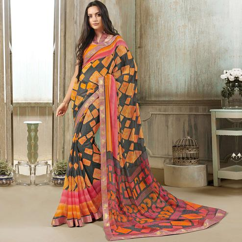 Charming Grey-Multi Colored Casual Wear Printed Georgette Saree