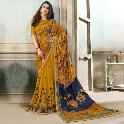 Jazzy Mustard Yellow Colored Casual Wear Printed Georgette Saree