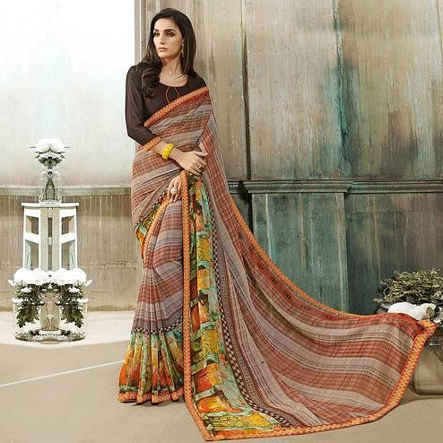 Delightful Multi Colored Casual Wear Printed Georgette Saree
