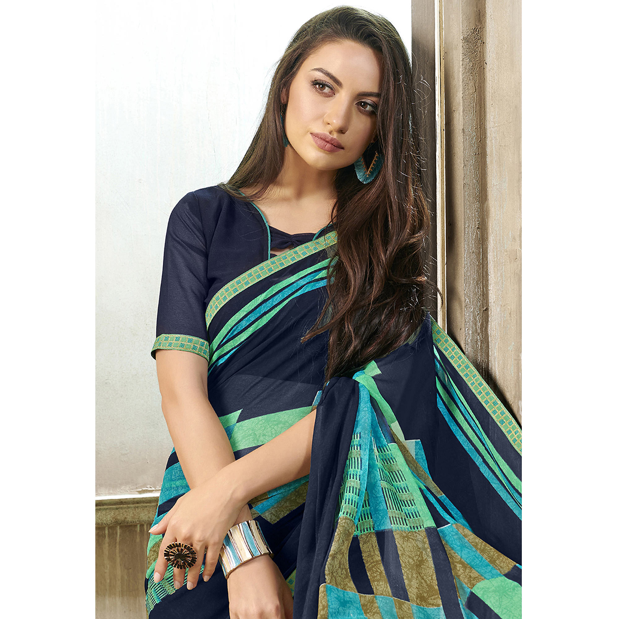 Engrossing Blue Colored Casual Wear Printed Georgette Saree