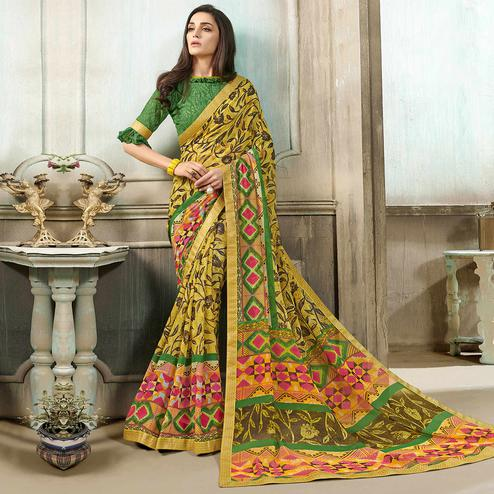 Captivating Yellow-Green Colored Casual Wear Printed Georgette Saree