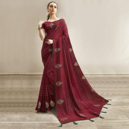 Eye-catching Maroon Colored Party Wear Embroidered Chanderi Silk Saree