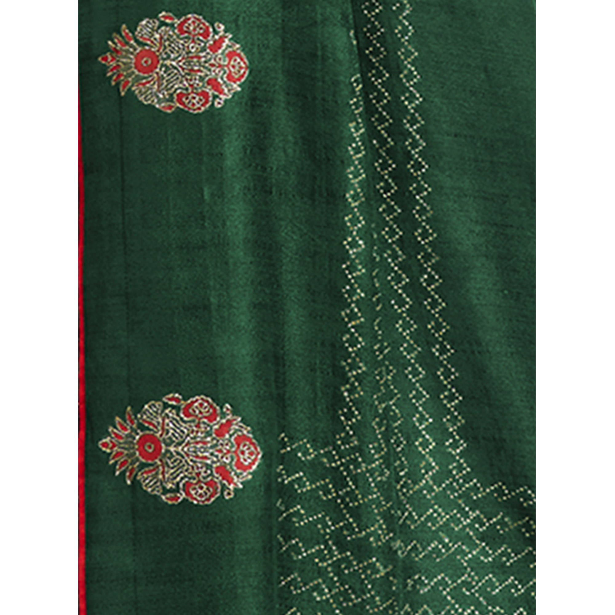 Fantastic Green Colored Party Wear Embroidered Chanderi Silk Saree